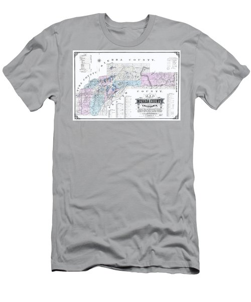 1880 Nevada County Mining Claim Map Men's T-Shirt (Athletic Fit)