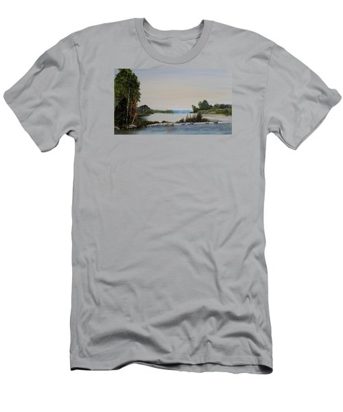 Men's T-Shirt (Slim Fit) featuring the painting 19 Geese by Marilyn  McNish