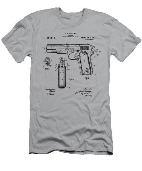 1911 Colt 45 Browning Firearm Patent Artwork Vintage Men's T-Shirt (Slim Fit) by Nikki Marie Smith
