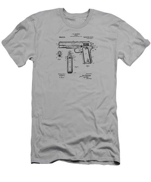 1911 Colt 45 Browning Firearm Patent Artwork Vintage Men's T-Shirt (Athletic Fit)