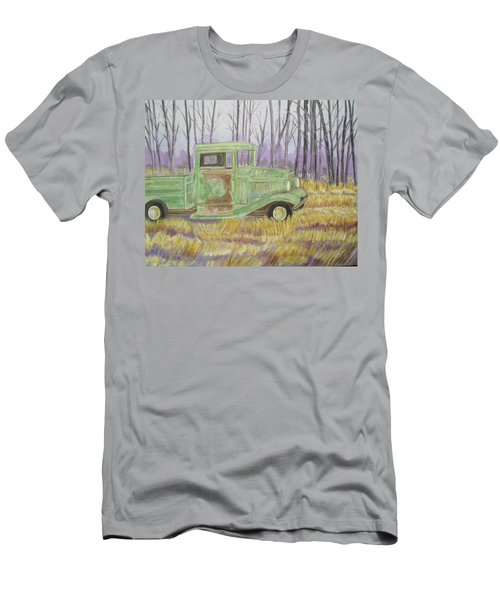 Men's T-Shirt (Slim Fit) featuring the painting 1932  Greenford Pickup Truck by Belinda Lawson