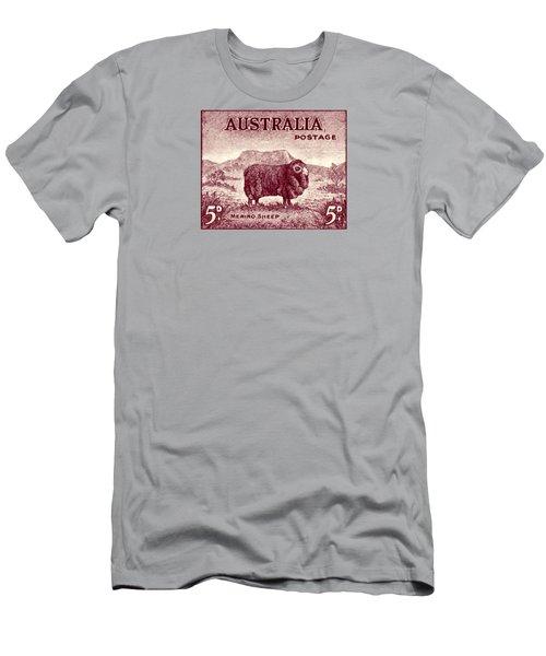 1946 Australian Merino Sheep Stamp Men's T-Shirt (Slim Fit) by Historic Image