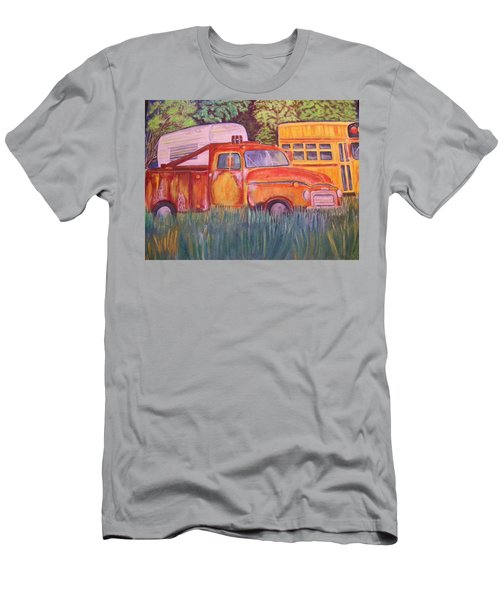 Men's T-Shirt (Slim Fit) featuring the painting 1954 Gmc Wrecker Truck by Belinda Lawson