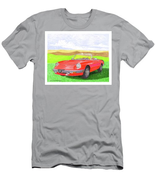 Men's T-Shirt (Slim Fit) featuring the painting 1983 Alfa Romero Spider Veloce by Jack Pumphrey