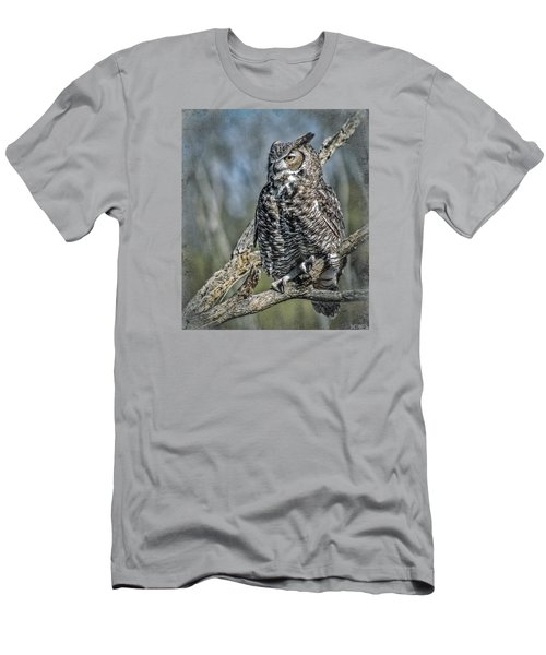 Men's T-Shirt (Slim Fit) featuring the photograph Great Horned Owl by Elaine Malott