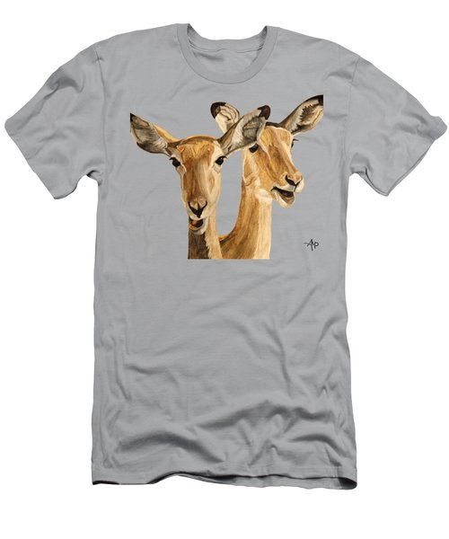 Men's T-Shirt (Athletic Fit) featuring the painting Impalas by Angeles M Pomata