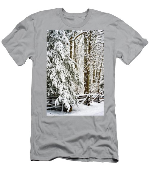 Men's T-Shirt (Slim Fit) featuring the photograph Rail Fence And Snow by Thomas R Fletcher