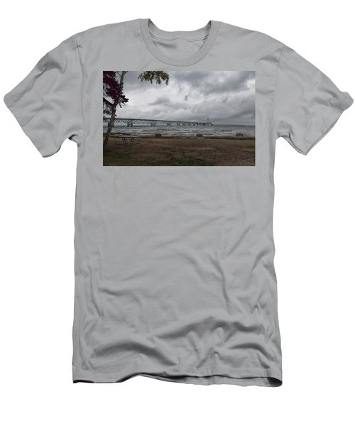 Men's T-Shirt (Athletic Fit) featuring the photograph Straits Of Mackinac by John M Bailey