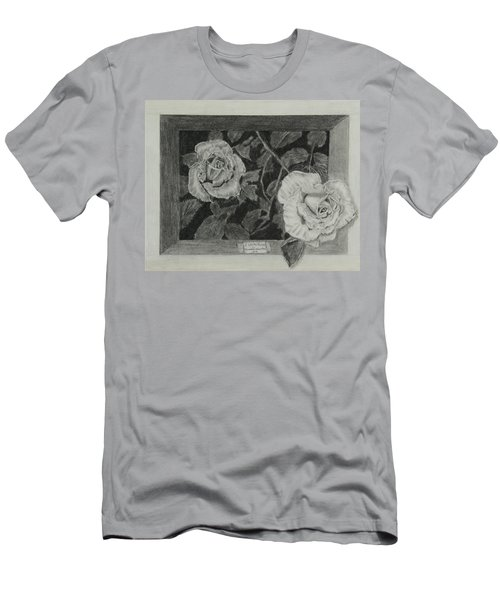 Men's T-Shirt (Slim Fit) featuring the drawing 2 White Roses by Quwatha Valentine