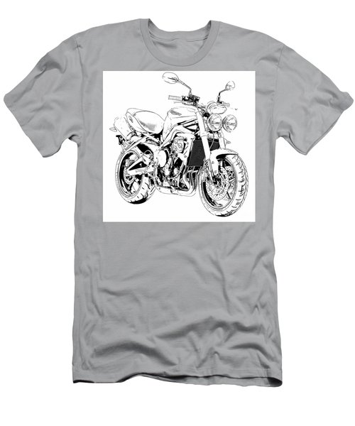 2011 Triumph Street Triple, Black And White Motorcycle Men's T-Shirt (Athletic Fit)