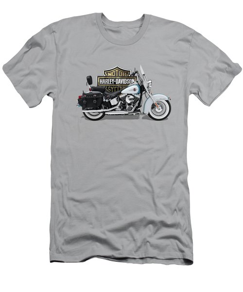 Men's T-Shirt (Slim Fit) featuring the digital art 2017 Harley-davidson Heritage Softail Classic  Motorcycle With 3d Badge Over Vintage Background  by Serge Averbukh