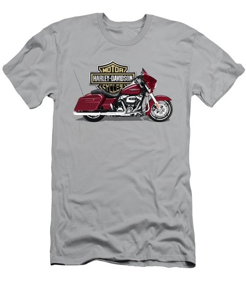 Men's T-Shirt (Slim Fit) featuring the digital art 2017 Harley-davidson Street Glide Special Motorcycle With 3d Badge Over Vintage Background  by Serge Averbukh