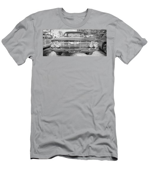 Men's T-Shirt (Slim Fit) featuring the photograph 1961 Chevrolet Impala Ss Bw by Rich Franco