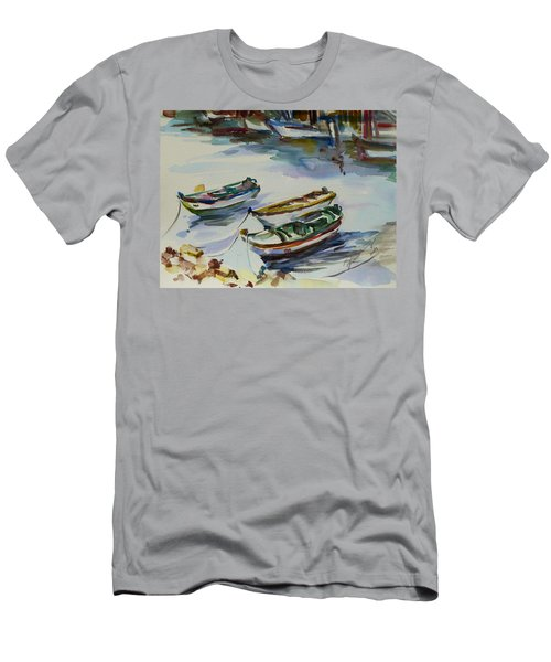 Men's T-Shirt (Slim Fit) featuring the painting 3 Boats I by Xueling Zou