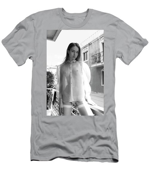 Girl On Balcony Men's T-Shirt (Athletic Fit)