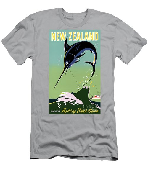 New Zealand Vintage Travel Poster Restored Men's T-Shirt (Athletic Fit)