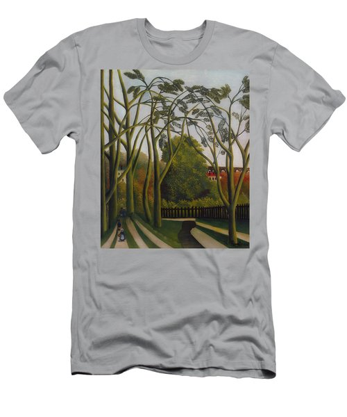 Men's T-Shirt (Slim Fit) featuring the painting The Banks Of The Bievre Near Bicetre by Henri Rousseau