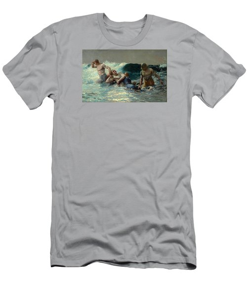 Men's T-Shirt (Slim Fit) featuring the painting Undertow by Winslow Homer