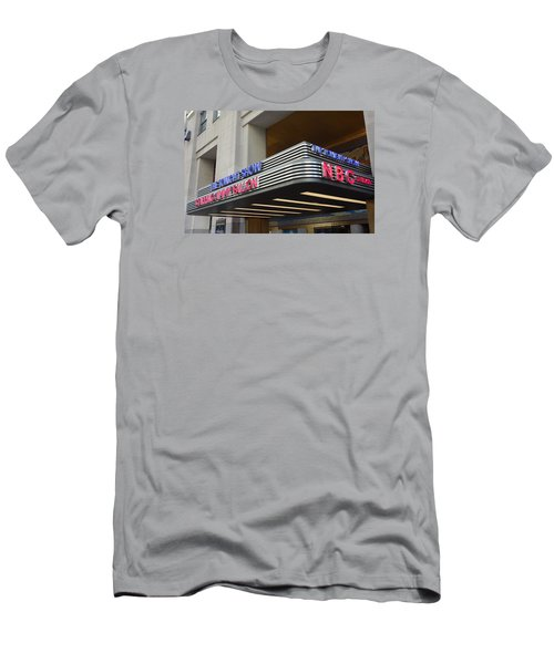 Men's T-Shirt (Slim Fit) featuring the photograph 30 Rock Jimmy Fallon Marquee by Melinda Saminski