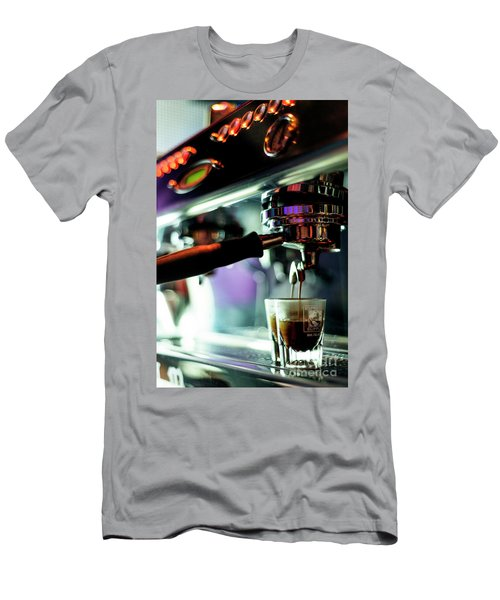 Making Espresso Coffee Close Up Detail With Modern Machine Men's T-Shirt (Athletic Fit)