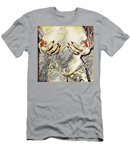 3787s-drl Cupping Her Breasts Erotica In The Style Of Kandinsky Men's T-Shirt (Athletic Fit)
