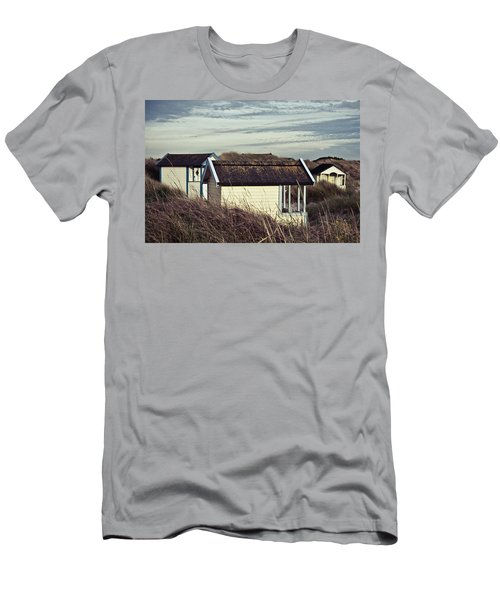 Men's T-Shirt (Athletic Fit) featuring the photograph Beach Houses And Dunes by Michael Maximillian Hermansen