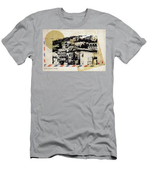 Men's T-Shirt (Athletic Fit) featuring the digital art stylish retro postcard of Porto  by Ariadna De Raadt