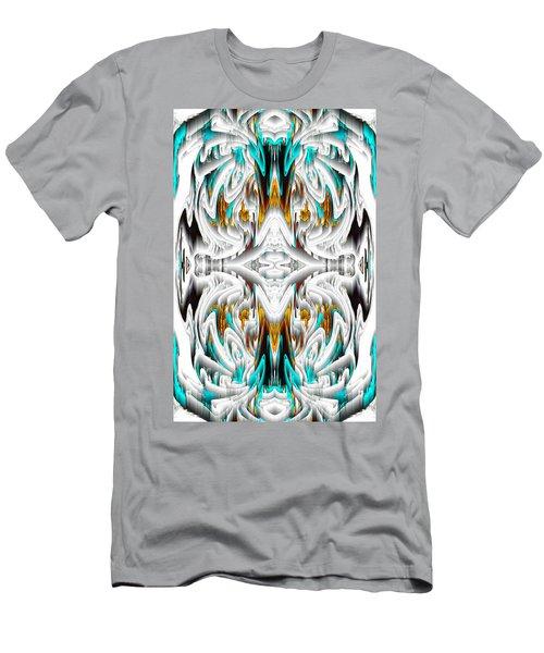 Men's T-Shirt (Athletic Fit) featuring the digital art 992.042212mirror2ornategoldablue-1 by Kris Haas