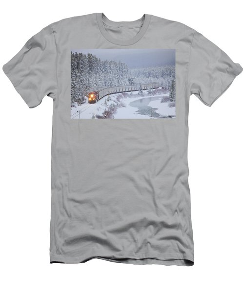 A Canadian Pacific Train Travels Along Men's T-Shirt (Athletic Fit)