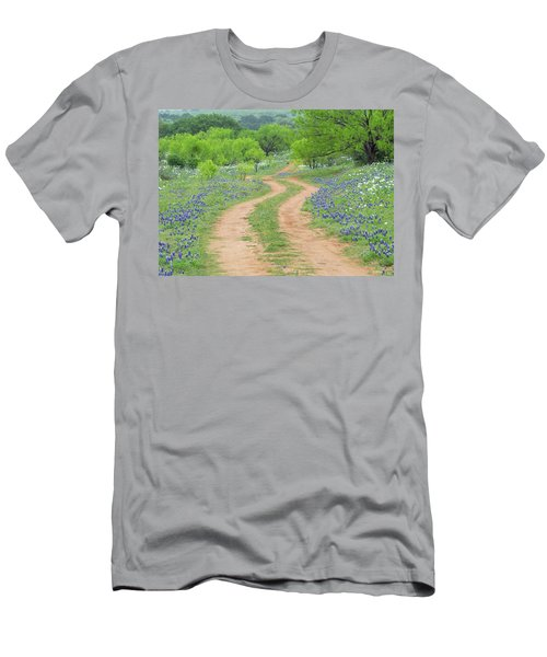 A Dirt Road Lined By Blue Bonnets Of Texas Men's T-Shirt (Athletic Fit)