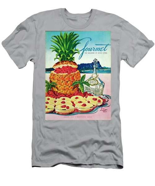 A Hawaiian Scene With Pineapple Slices Men's T-Shirt (Athletic Fit)
