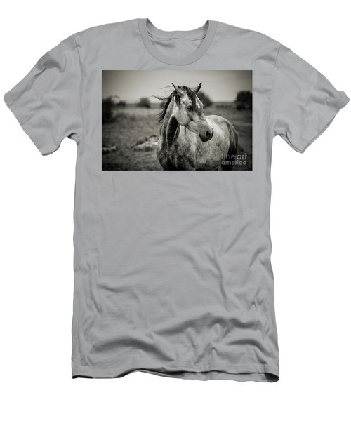 A Horse In Profile In Black And White Men's T-Shirt (Athletic Fit)