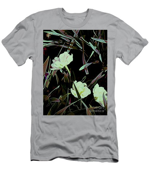 Men's T-Shirt (Slim Fit) featuring the photograph A Noir Mystery Tulip Trio by Nancy Kane Chapman