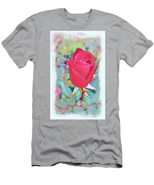 Men's T-Shirt (Slim Fit) featuring the photograph A Single Rose In October by Joan  Minchak