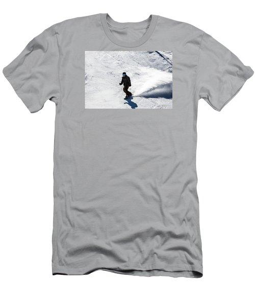 A Snowboarder Descends Aspen Mountain Men's T-Shirt (Slim Fit) by Carol M Highsmith