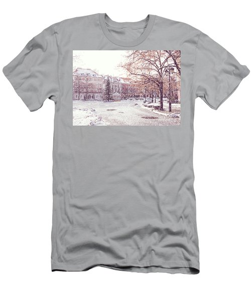 Men's T-Shirt (Slim Fit) featuring the photograph A Street In Warsaw, Poland On A Snowy Day by Juli Scalzi