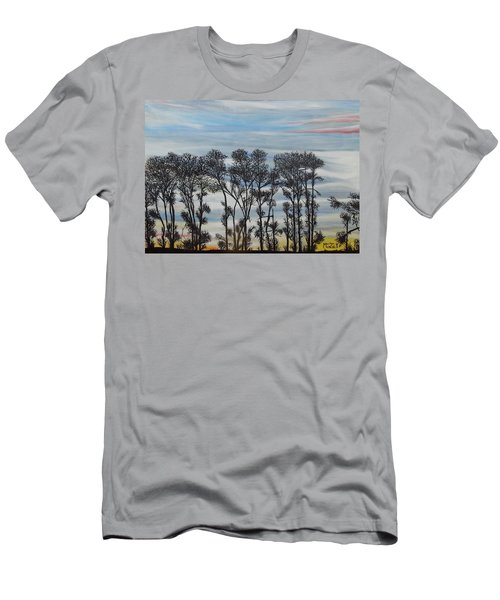 Men's T-Shirt (Slim Fit) featuring the painting A Treeline Silhouette by Marilyn  McNish