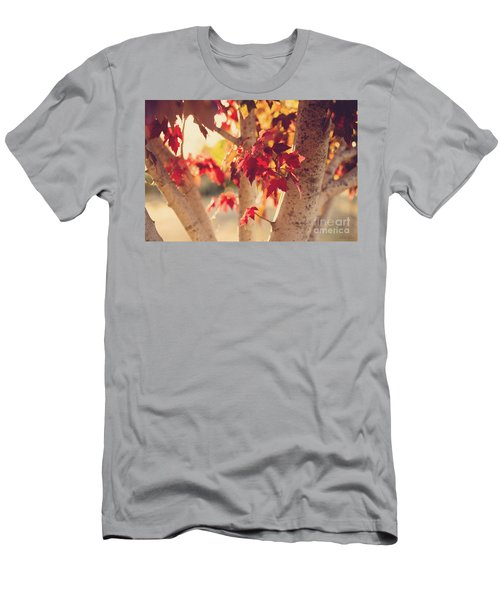 Men's T-Shirt (Slim Fit) featuring the photograph A Warm Red Autumn by Linda Lees