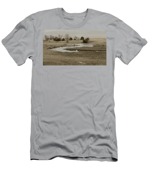 A Winding Creek In Winter As Geese Fly Overhead Men's T-Shirt (Athletic Fit)