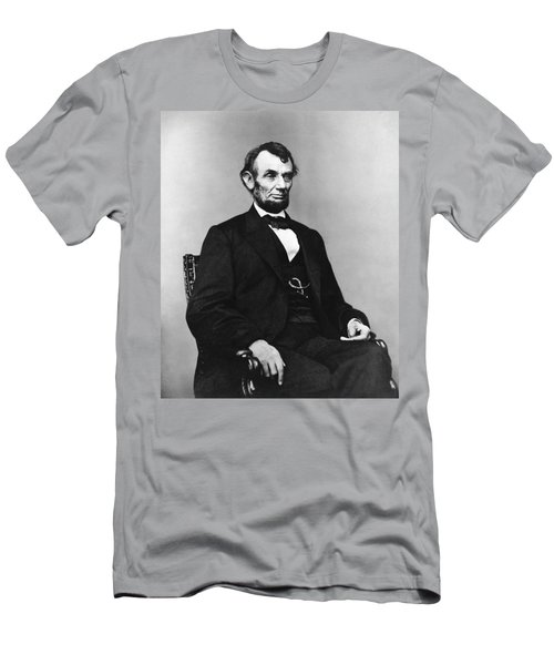 Men's T-Shirt (Slim Fit) featuring the photograph Abraham Lincoln Portrait - Used For The Five Dollar Bill - C 1864 by International  Images