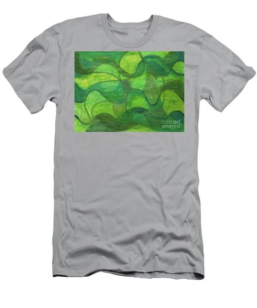 Abstract Green Wave Connection Men's T-Shirt (Athletic Fit)
