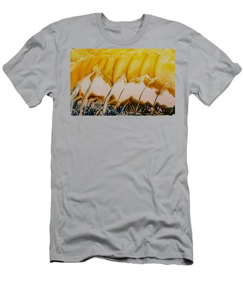 Abstract Yellow, White Waves And Sails Men's T-Shirt (Athletic Fit)