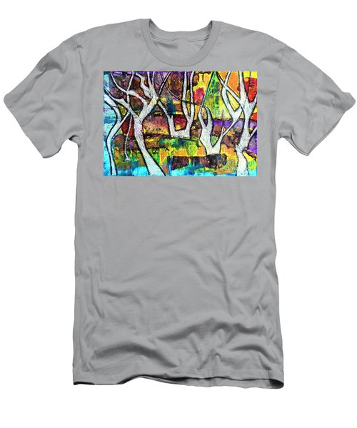 Men's T-Shirt (Athletic Fit) featuring the painting Acrylic Forest  by Ariadna De Raadt