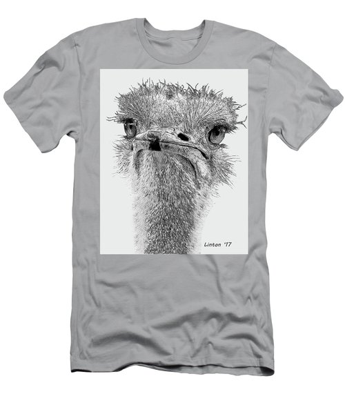 Men's T-Shirt (Athletic Fit) featuring the digital art African Ostrich Sketch by Larry Linton