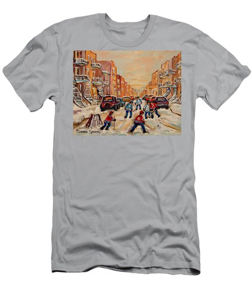 Men's T-Shirt (Slim Fit) featuring the painting After School Hockey Game by Carole Spandau
