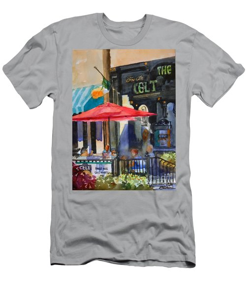 Men's T-Shirt (Slim Fit) featuring the painting Al Fresco At The Celt by Ron Stephens
