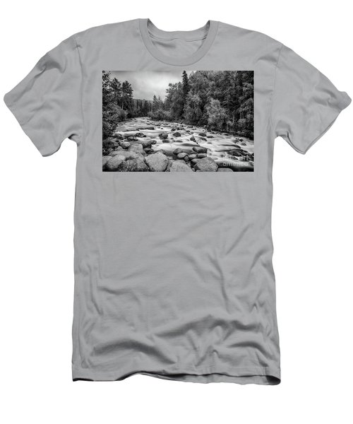 Alaskan Stream In Black And White Men's T-Shirt (Athletic Fit)