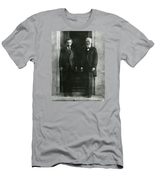 Men's T-Shirt (Athletic Fit) featuring the pyrography Albert Einstein And Hendrik Antoon Lorentz by Artistic Panda