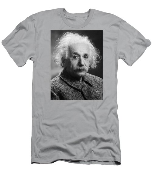 Men's T-Shirt (Athletic Fit) featuring the pyrography Albert Einstein by Artistic Panda