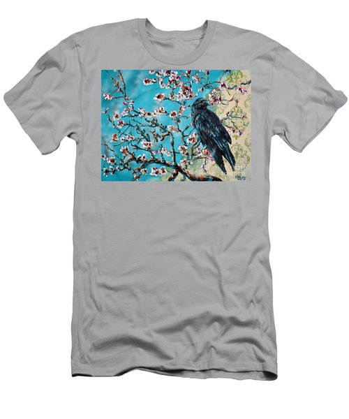 Almond Branch And Raven Men's T-Shirt (Athletic Fit)